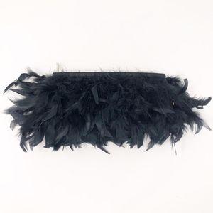 EXPRESS Feather Black Women's Clutch Zip Satin